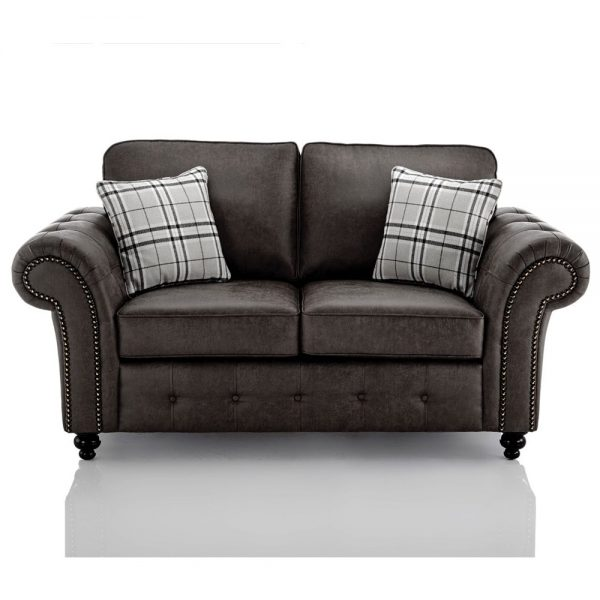 Oakland Faux Leather 2 Seater Sofa in Black