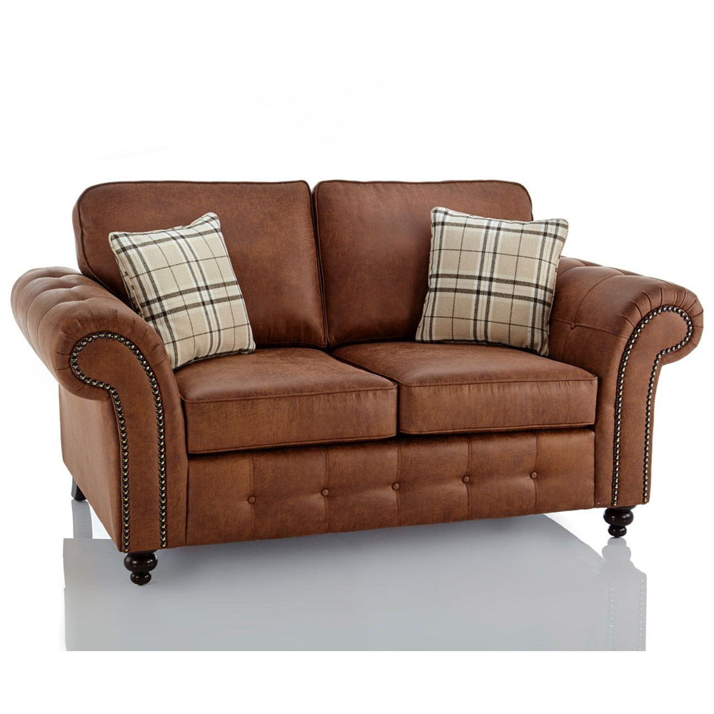 Oakland Faux Leather 2 Seater Sofa In Brown