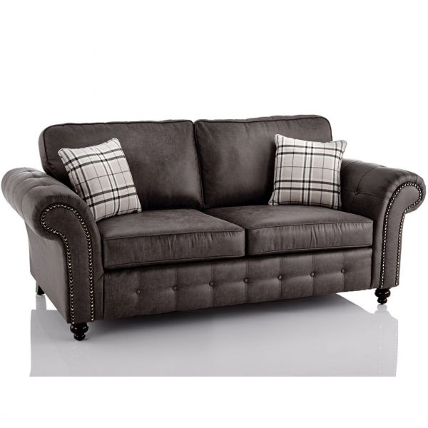 Oakland Faux Leather 3 Seater Sofa in Black