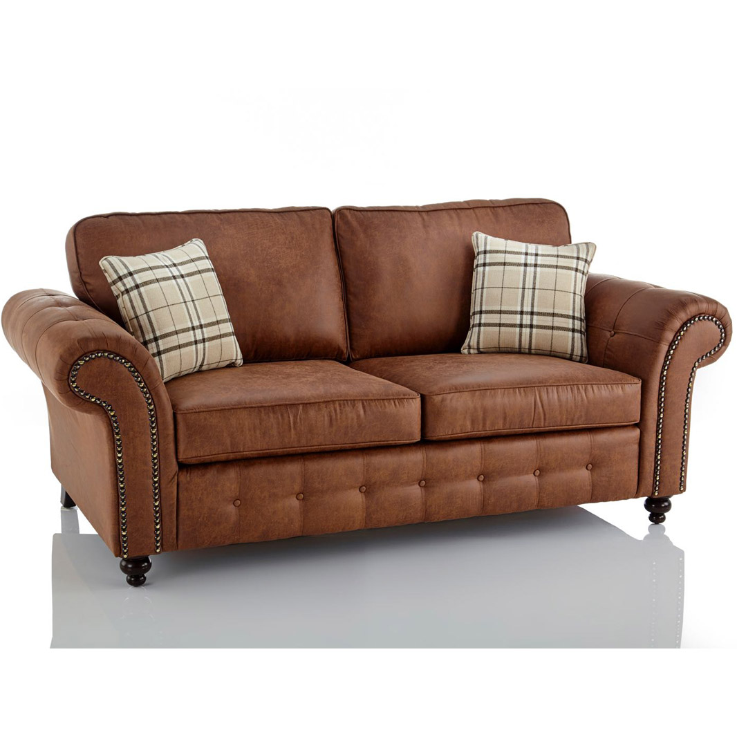 Oakland Faux Leather 3 Seater Sofa in Brown