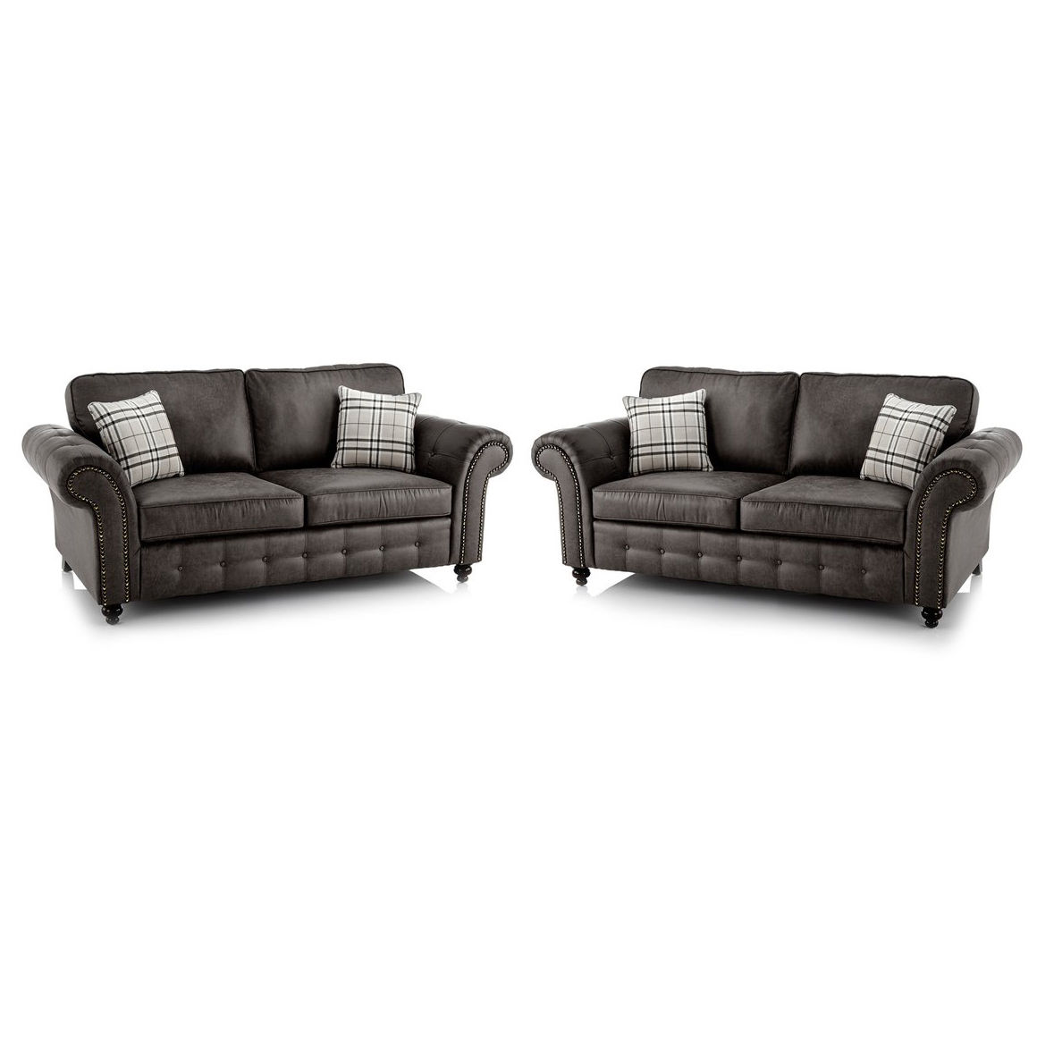 Oakland Faux Leather 3 and 2 Seater Sofa Combo in Black