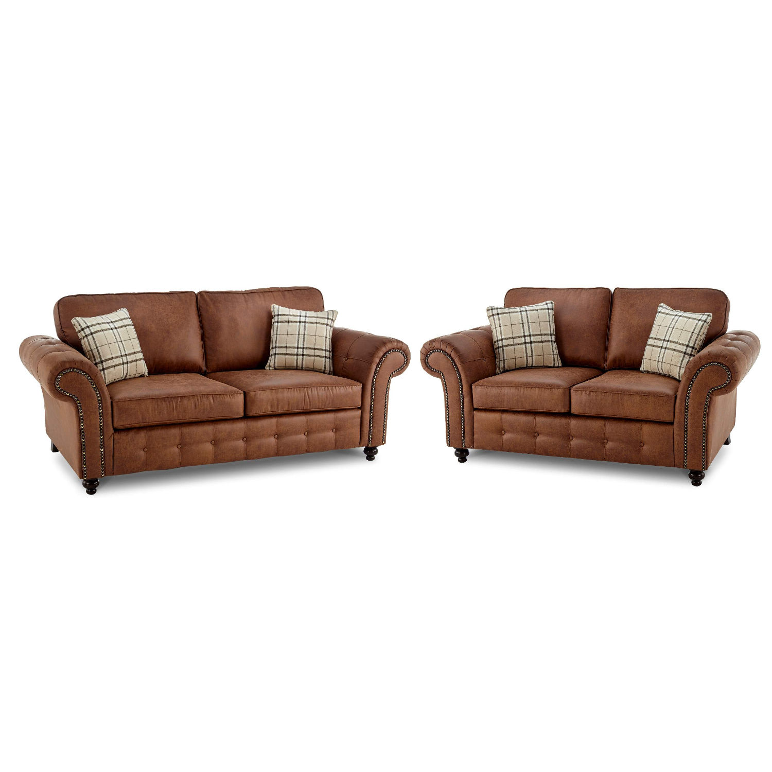 Oakland Faux Leather 3 & 2 Seater Sofa Combo in Brown