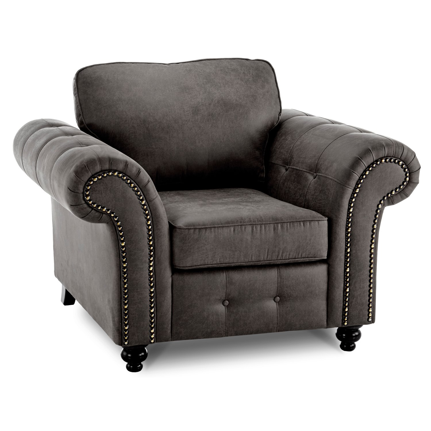 Oakland Faux Leather Armchair in Black