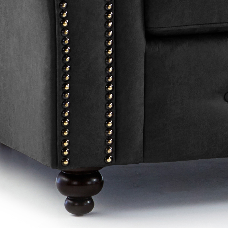 Enjoyable Oakland Faux Leather Right Hand Corner Sofa In Black Gmtry Best Dining Table And Chair Ideas Images Gmtryco