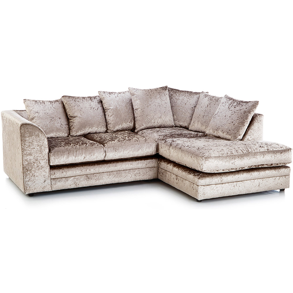 What Does Right Hand Corner Sofa Mean: Michigan Crushed Velvet Corner Sofa Right Hand Mink