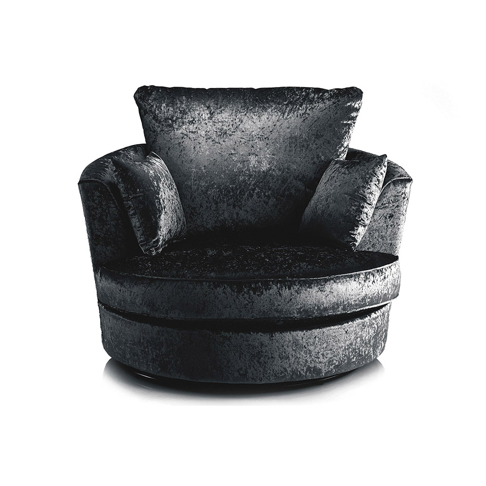 Michigan Crushed Velvet Swivel Chair Black