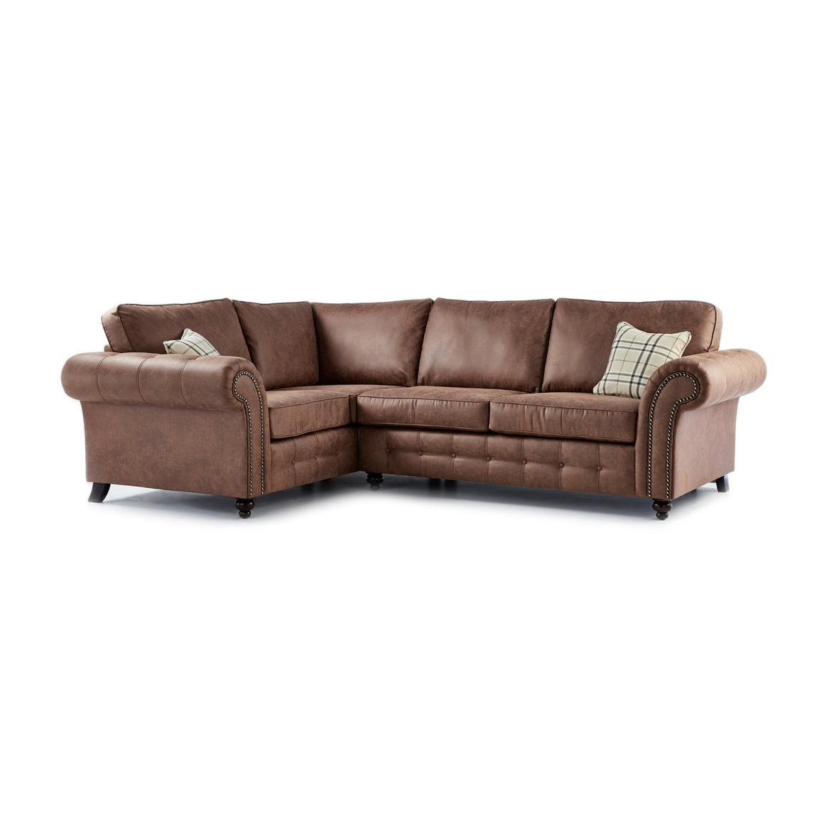 Oakland faux leather left hand corner sofa in brown just for Corner loveseats