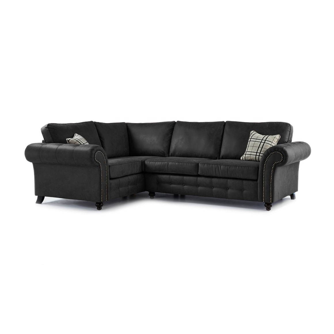 Oakland Faux Leather Left Hand Corner Sofa in Black