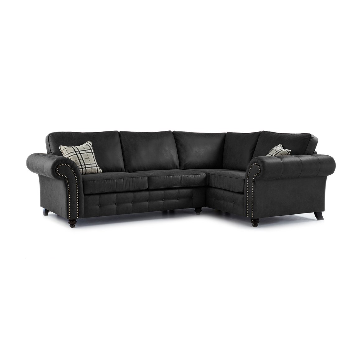 Oakland faux leather right hand corner sofa in black for Black corner sofa