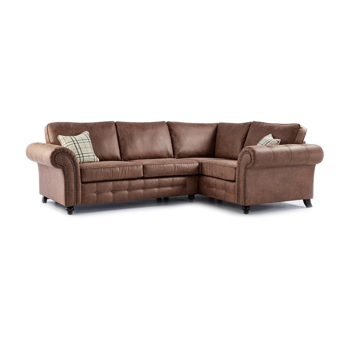 Oakland Faux Leather Right Hand Corner Sofa in Brown