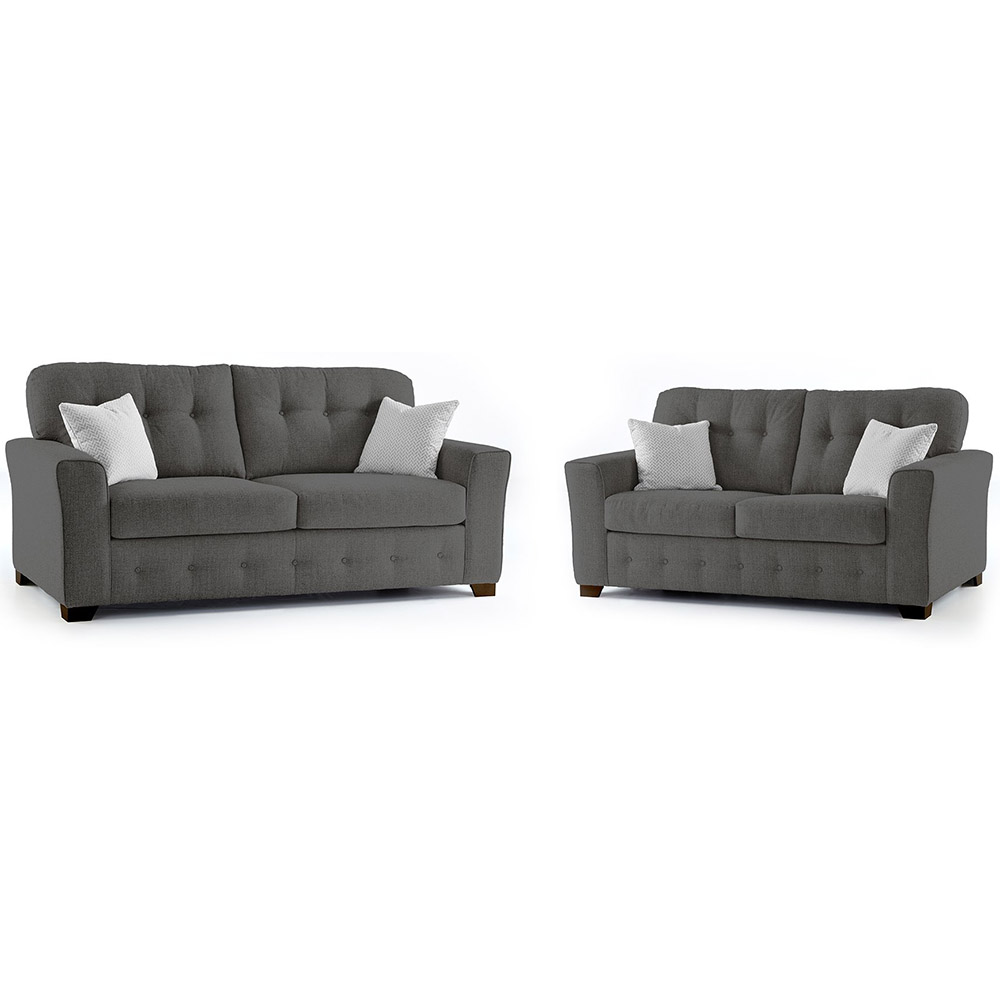 Plumstead Fabric 3 & 2 Seater Sofa Combo in Grey