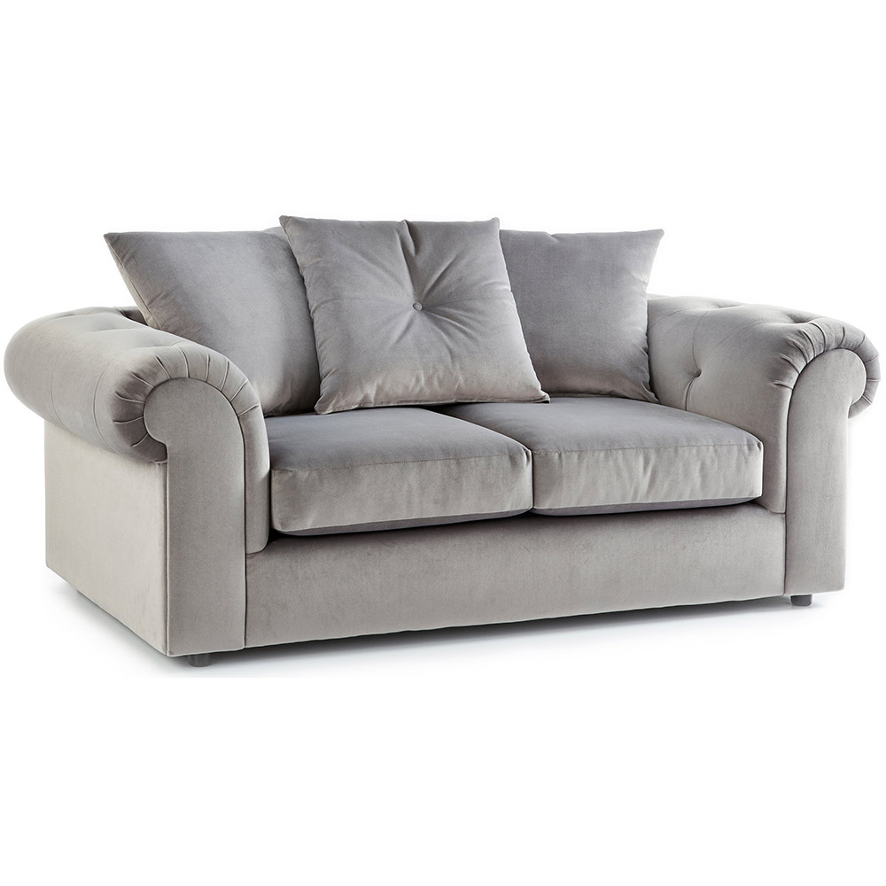 Shoreditch Fabric 2 Seater Sofa Grey Soft Velvet