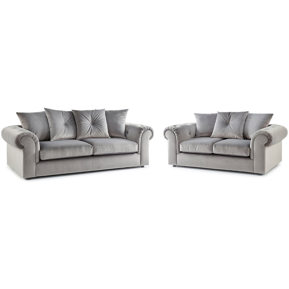 Shoreditch Fabric 3 and 2 Seater Sofa Combo Grey Soft Velvet