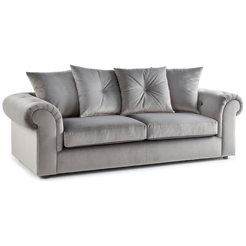 Shoreditch Fabric 3 Seater Sofa Grey Soft Velvet