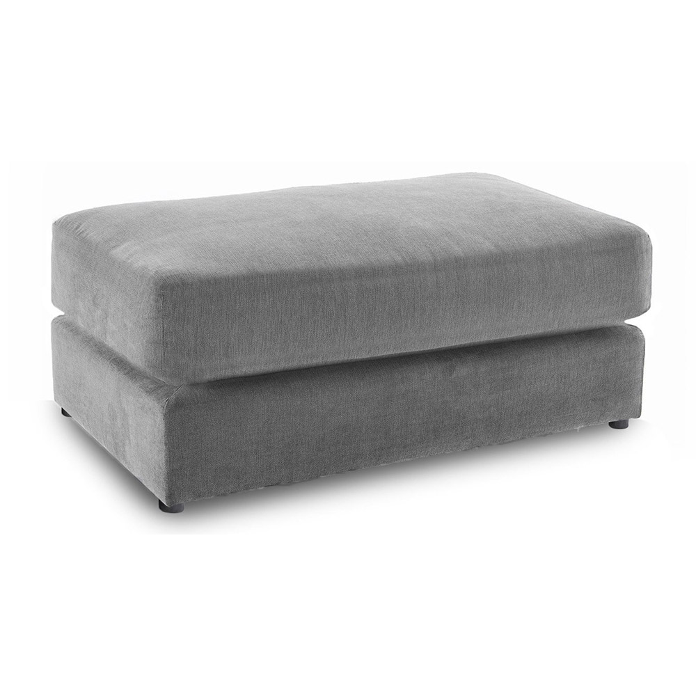 Shoreditch Fabric Footstool Grey Soft Velvet