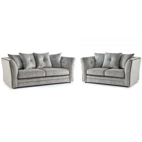 Lincoln Fabric 3 and 2 Seater Sofa Combo in Grey Merino