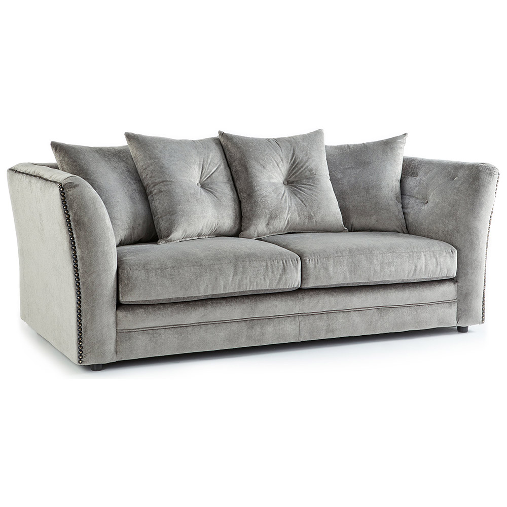 Lincoln Fabric 3 Seater Sofa in Grey Merino