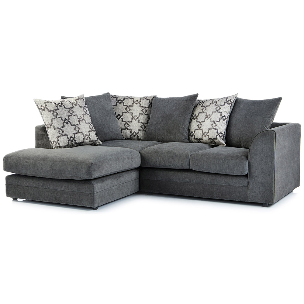 Washington Fabric Left Hand Corner Sofa in Charcoal