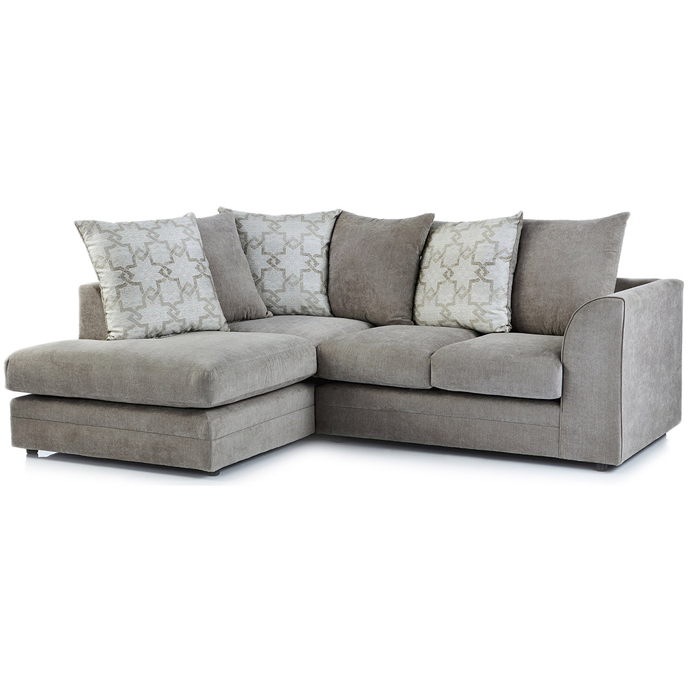 Washington Fabric Left Hand Corner Sofa in Stone