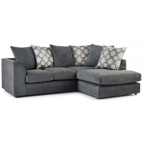 Washington Fabric Right Hand Corner Sofa in Charcoal