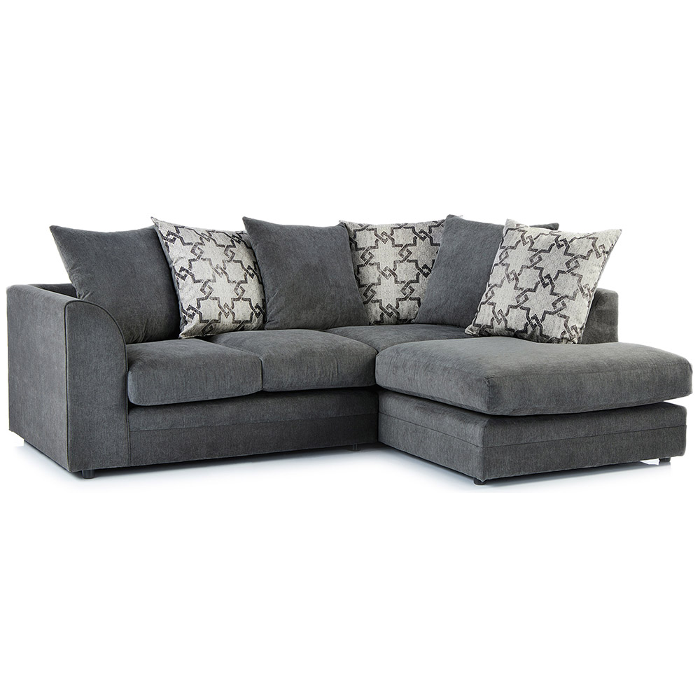 Right Hand Corner Sofa In Charcoal