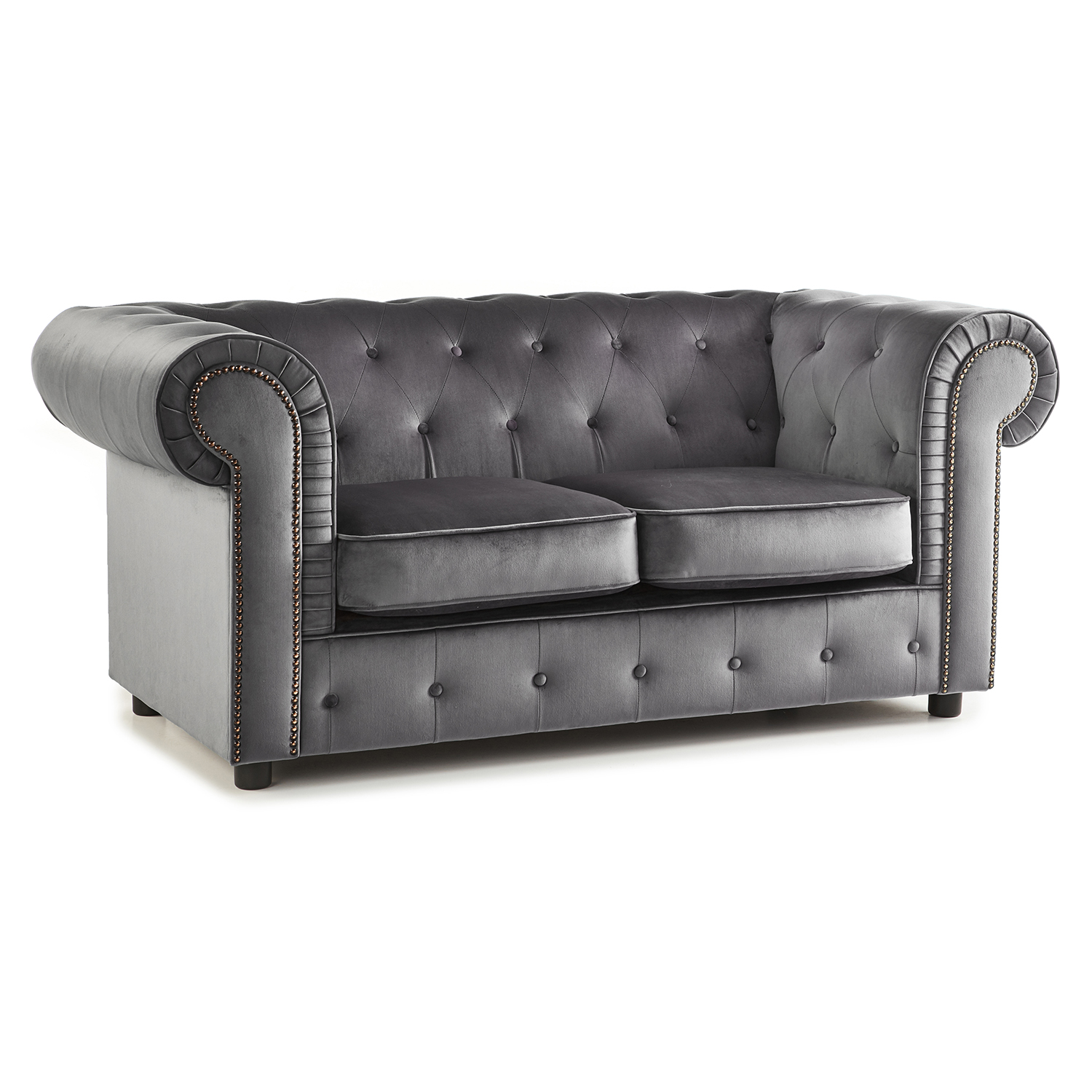 The Ashcroft Soft Velvet Chesterfield 2 Seater Sofa - Grey