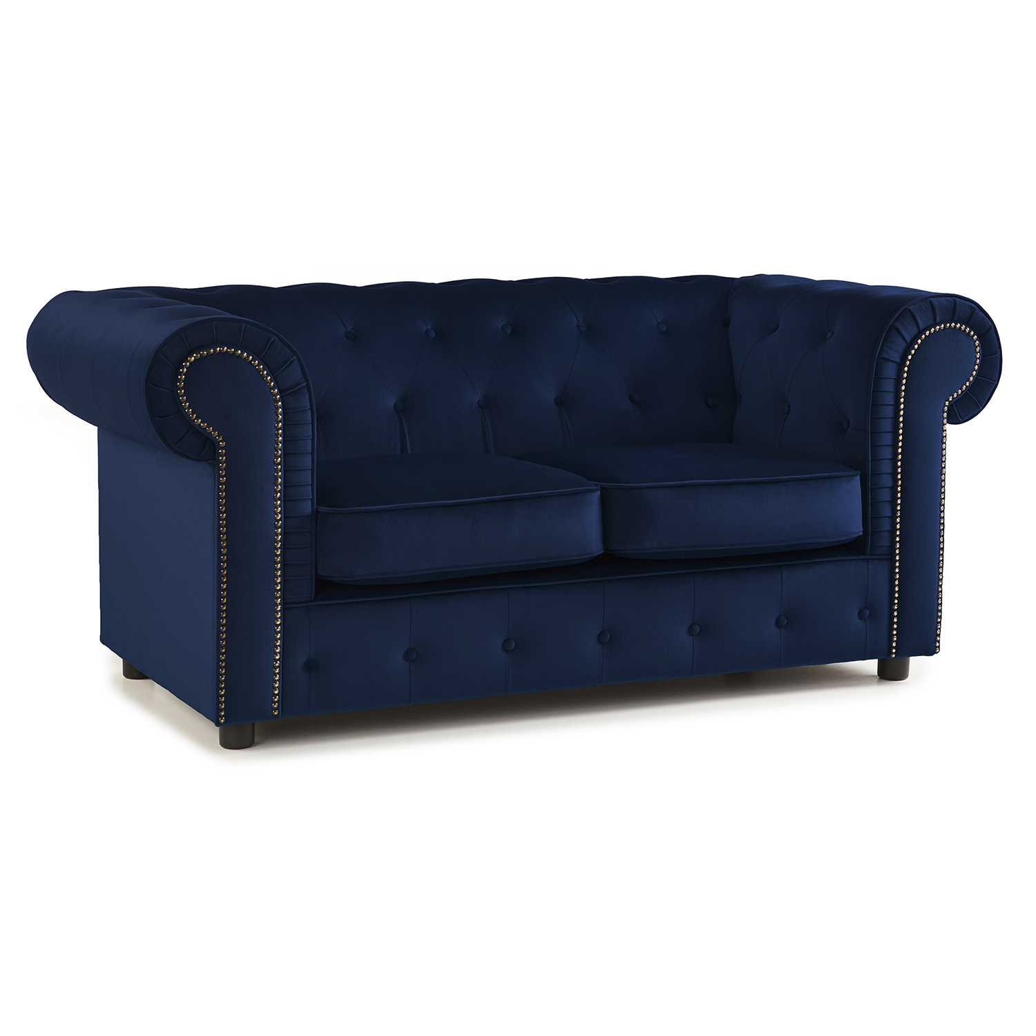 The Ashcroft Soft Velvet Chesterfield 2 Seater Sofa - Indigo