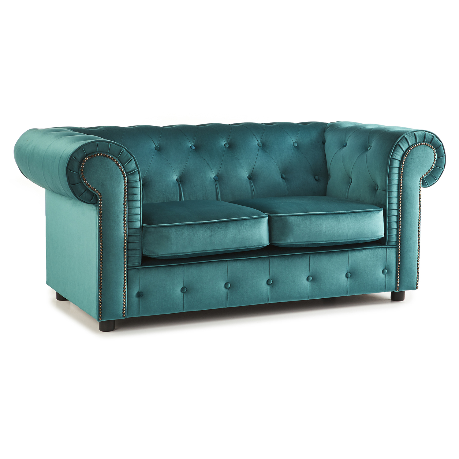 The Ashcroft Soft Velvet Chesterfield 2 Seater Sofa - Teal