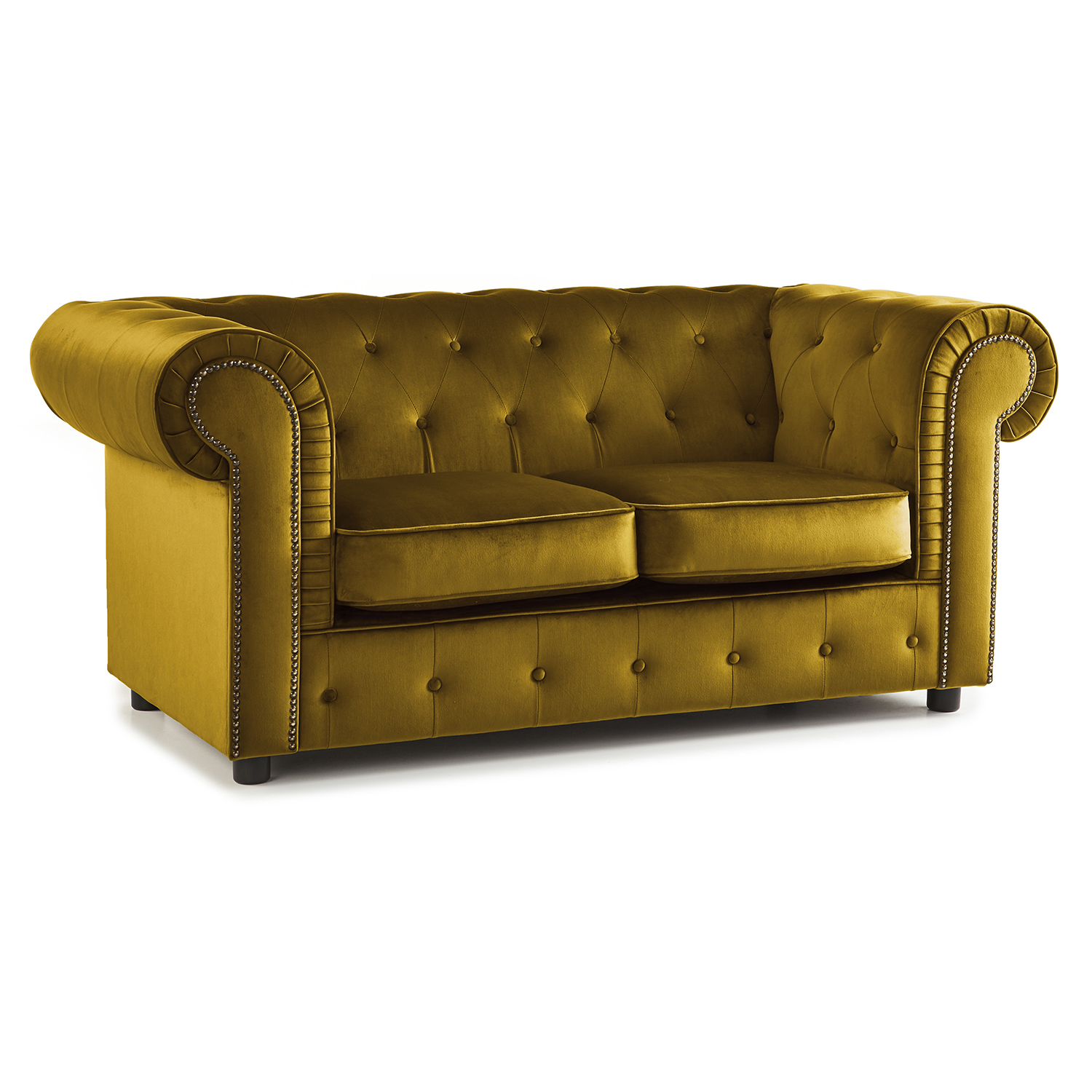 The Ashcroft Soft Velvet Chesterfield 2 Seater Sofa - Mustard