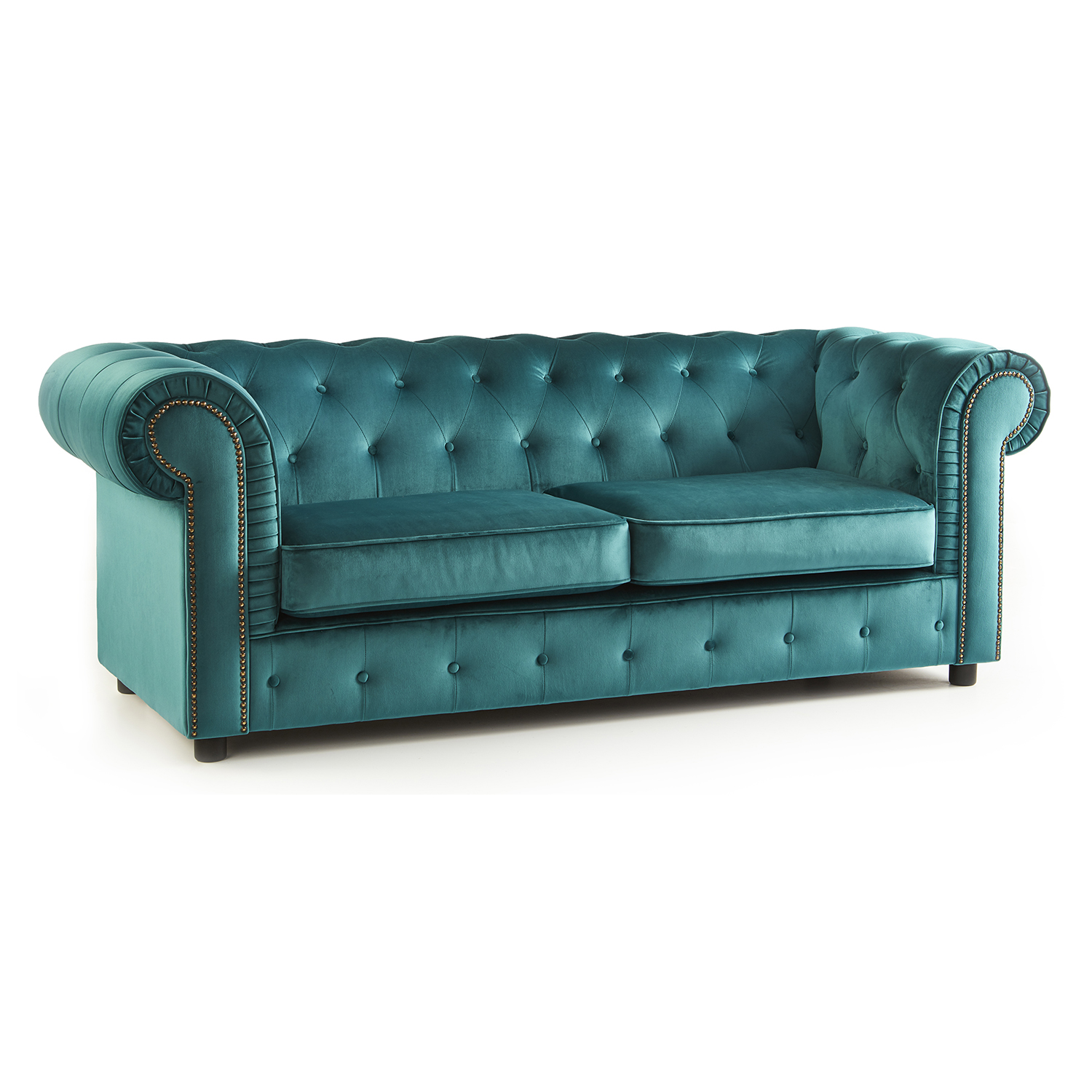 The Ashcroft Soft Velvet Chesterfield 3 Seater Sofa - Teal
