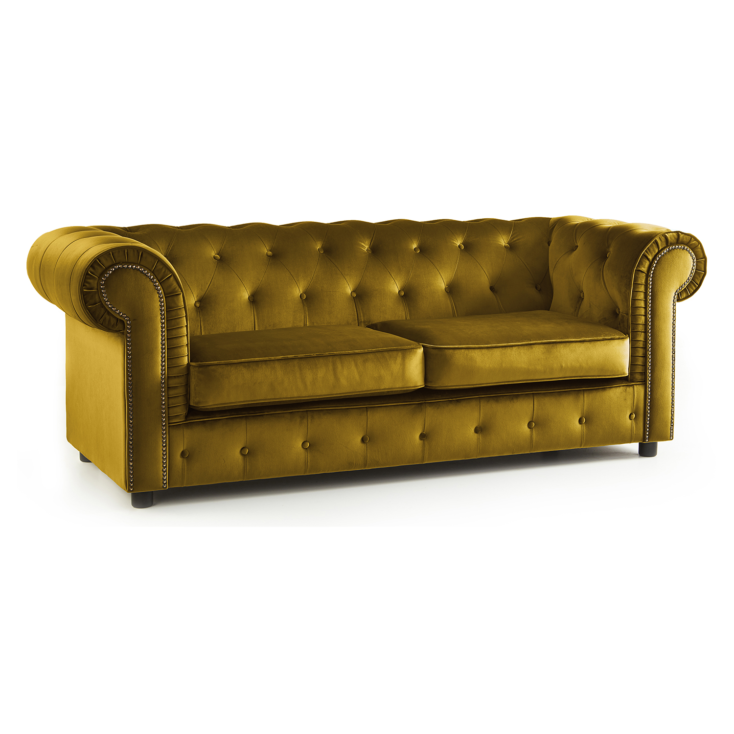 The Ashcroft Soft Velvet Chesterfield 3 Seater Sofa - Mustard