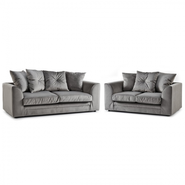 Rockford Soft Velvet 3 & 2 Seater Sofa Set in Charcoal