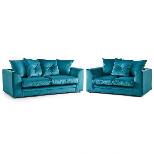 Rockford Soft Velvet 3 & 2 Seater Sofa Set in Turquoise