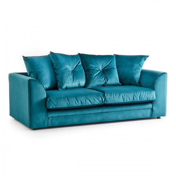 Rockford Soft Velvet 3 Seater Sofa in Turquoise