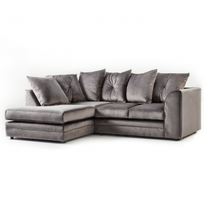 Rockford Soft Velvet Left Hand Corner Sofa in Charcoal