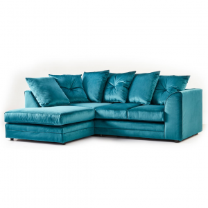 Rockford Soft Velvet Left Hand Corner Sofa in Turquoise