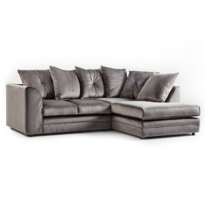 Rockford Soft Velvet Right Hand Corner Sofa in Charcoal