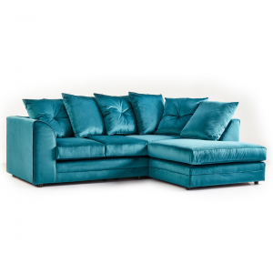 Rockford Soft Velvet Right Hand Corner Sofa in Turquoise