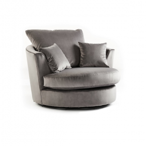 Rockford Soft Velvet Swivel Chair in Charcoal