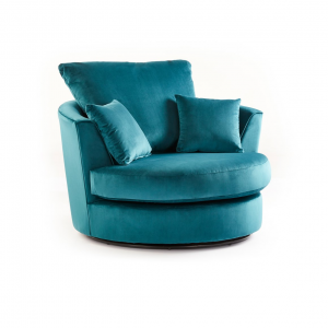 Rockford Soft Velvet Swivel Chair in Turquoise