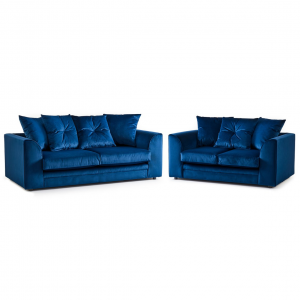 Rockford Soft Velvet 3 & 2 Seater Sofa Set in Navy