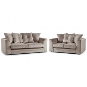Rockford Soft Velvet 3 & 2 Seater Sofa Set in Mink