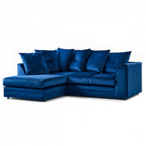 Rockford Soft Velvet Left Hand Corner Sofa in Navy