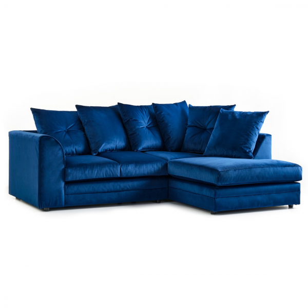 Rockford Soft Velvet Right Hand Corner Sofa in Navy