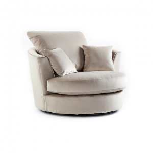 Rockford Soft Velvet Swivel Chair in Mink