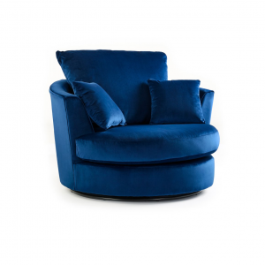 Rockford Soft Velvet Swivel Chair in Navy