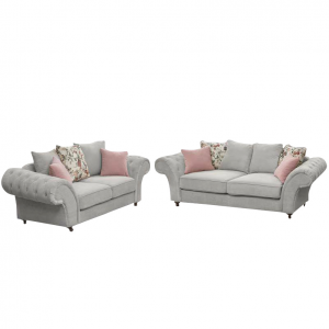 Windsor Chesterfield Fabric 3 + 2 Seater Set in Stone