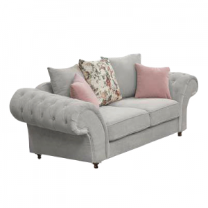 Windsor Chesterfield Fabric 2 Seater in Stone