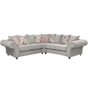 Windsor Chesterfield Fabric 2C2 Corner Sofa in Stone