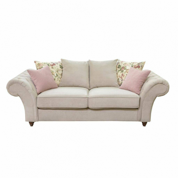 Windsor Chesterfield Fabric 3 Seater in Stone